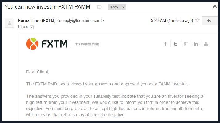 Forextime pamm